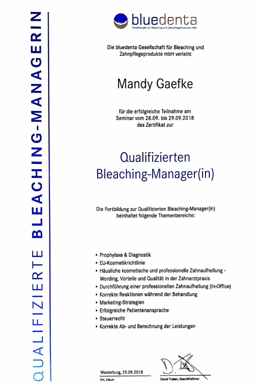 Bleaching-Managerin